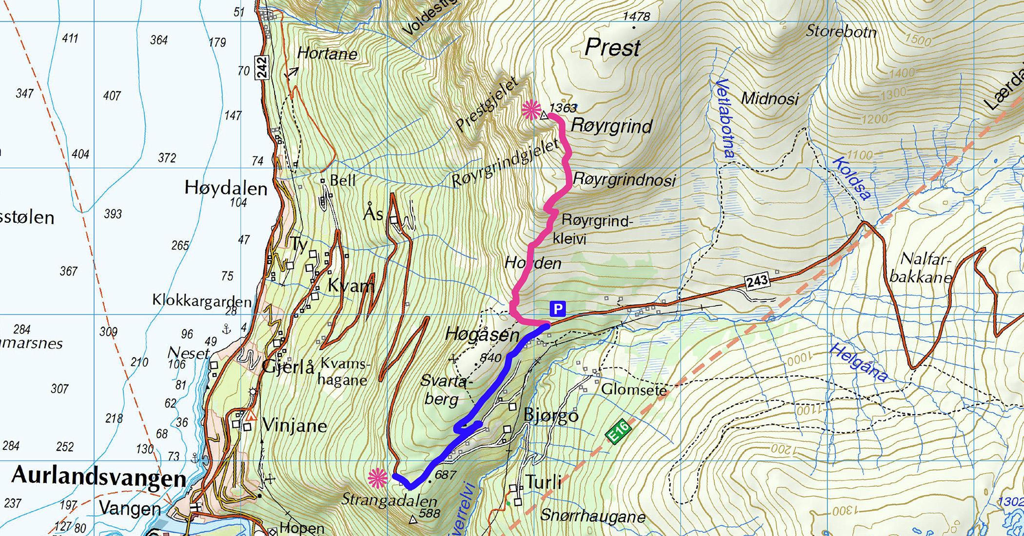 Trekking na Prest, Aurland
