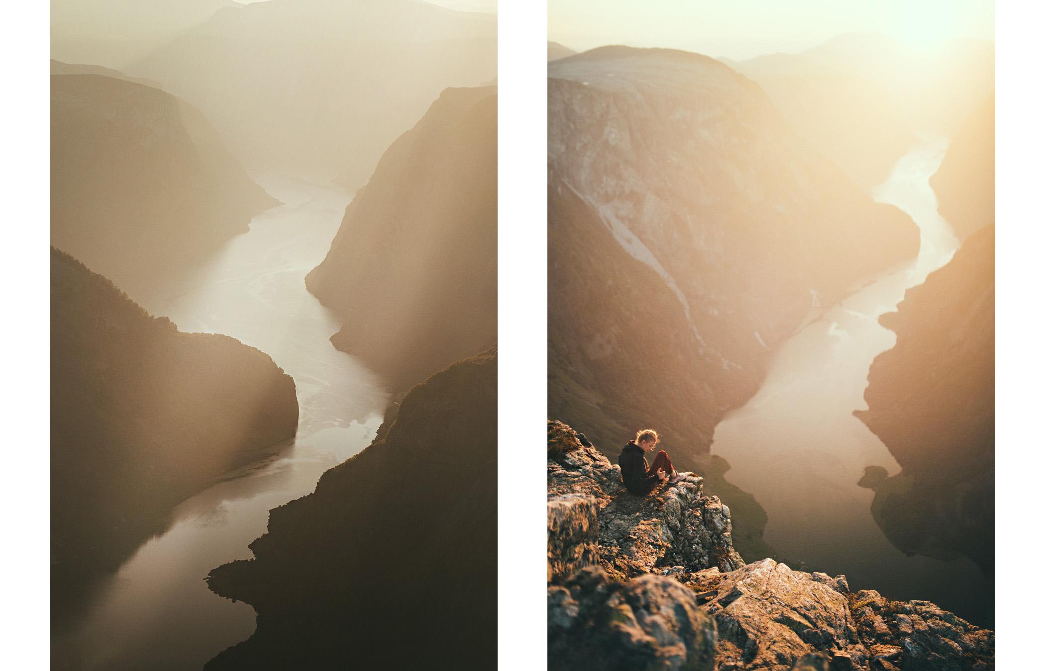 Bakkanosi, sunrise, Nærøyfjord, Norwegia