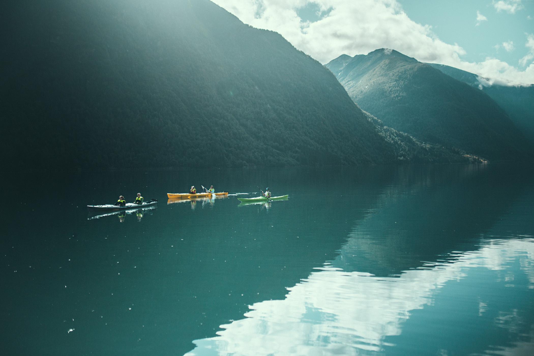 Fjærland, kajaki, Norwegia