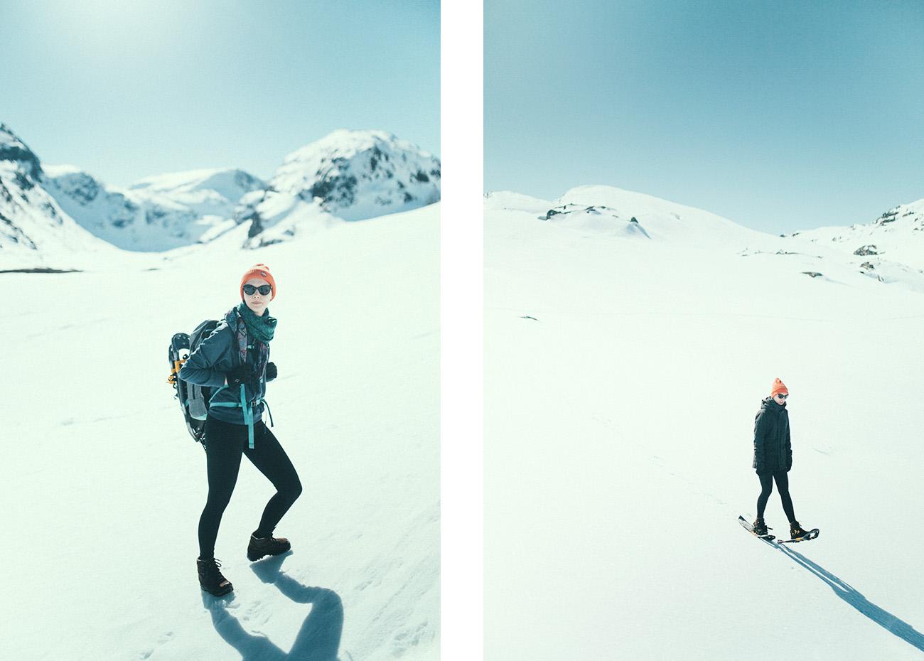 snowshoe hike, Myrdalen, wiosna
