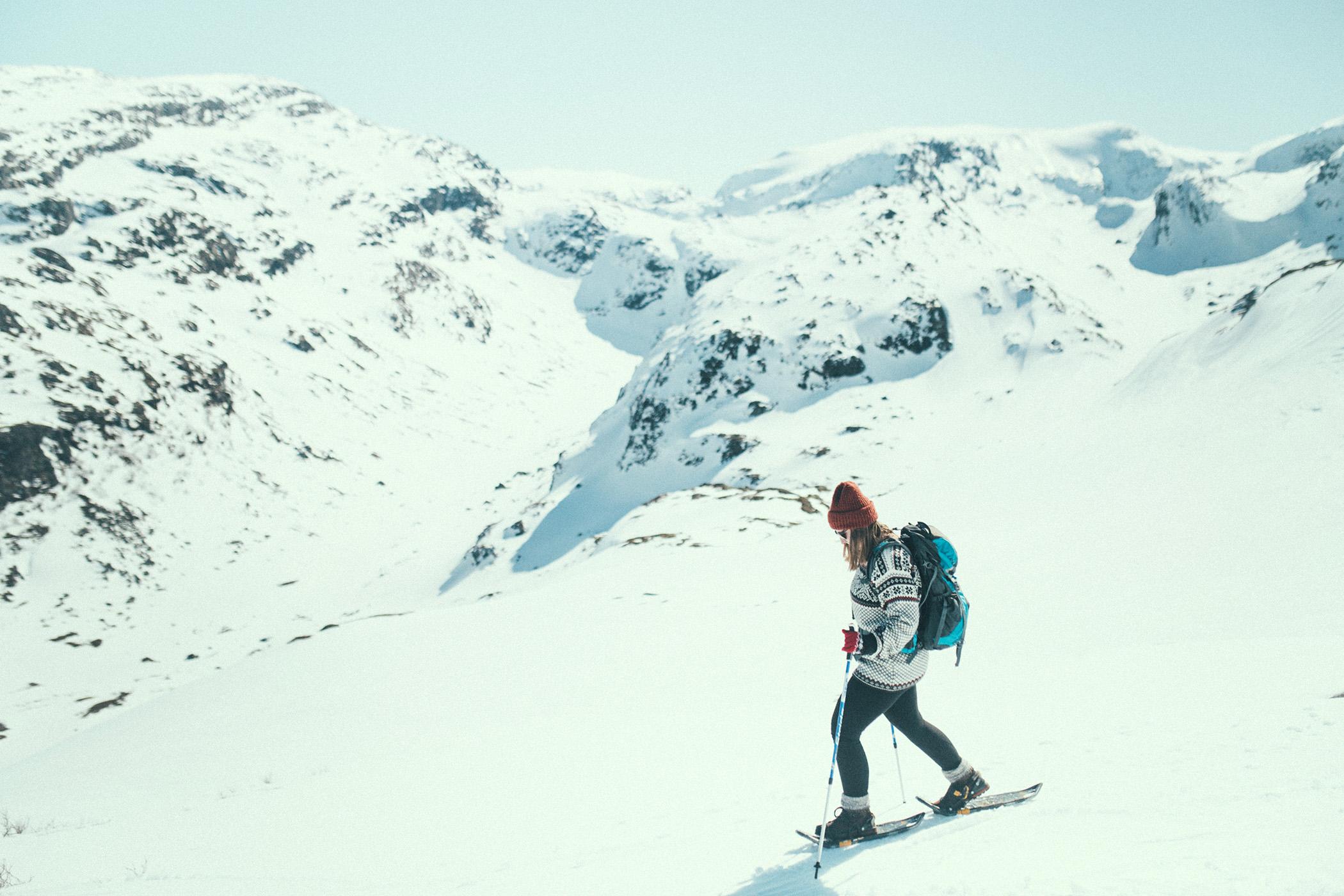 snowshoe hike, góry nad Myrdalen, kwiecień