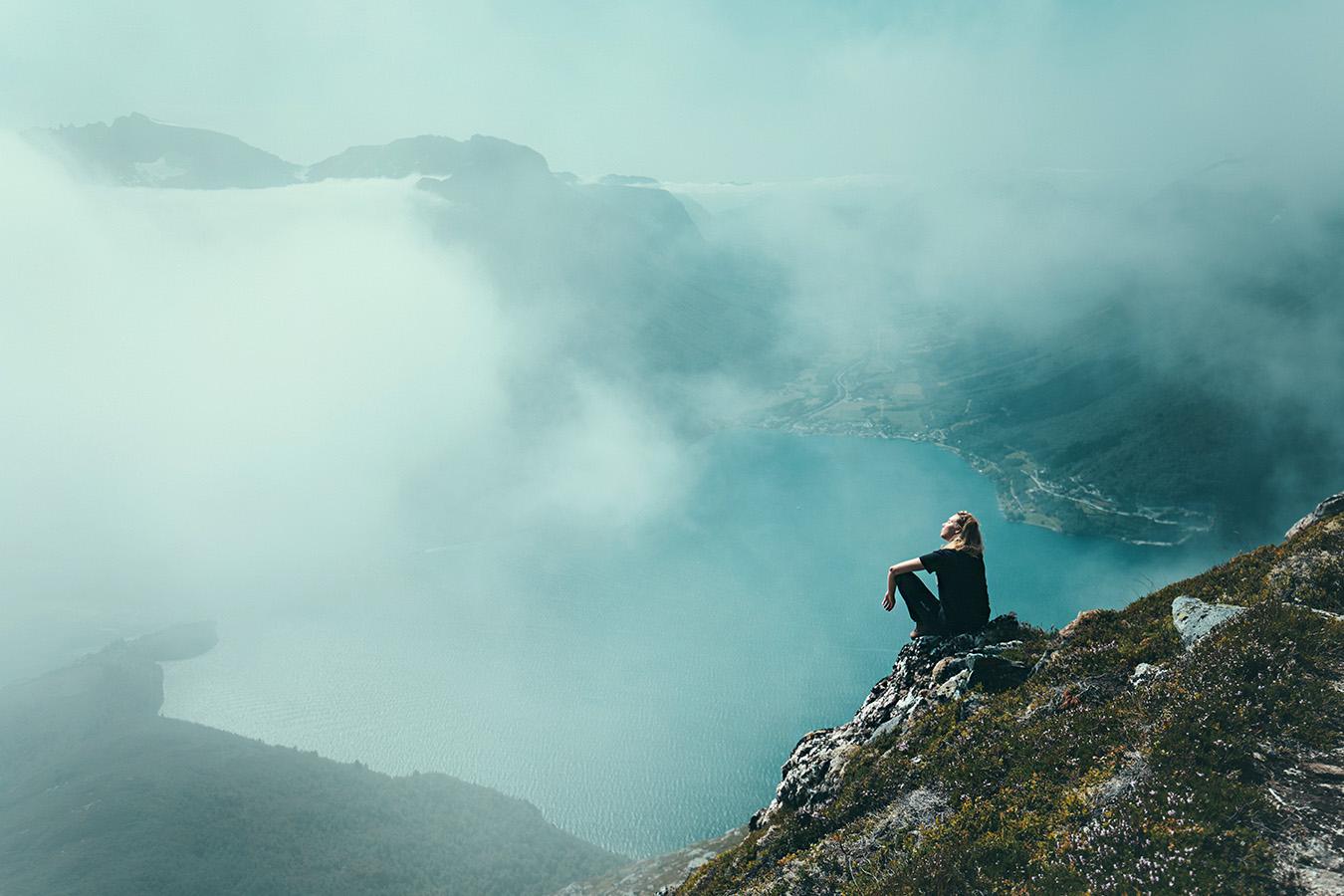 widok z Saksy, na Sæbø